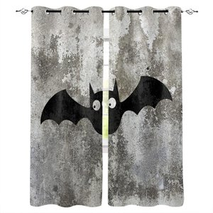 Curtain & Drapes Cute Cartoon Bat Black White Curtains For Kids Boy Girl Bedroom Living Room Cortinas Custom Drape Kitchen Window