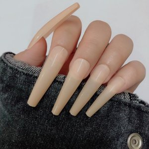 False Nails 24tips pc Super Long Press On Tapered Coffin Artificial Ballerina Salon Full Cover Fake Nail Art Manicure 22Colors