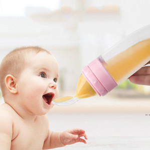 Baby Training Feeder Feeding Bottle Baby Squeezing Feeding Spoon Silicone Milk Bottle Food Supplement Scoop Cereal Feeder DHE4899