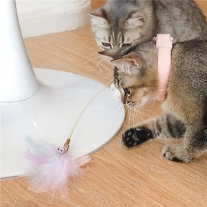 Cat Toys Pet Feather Toy With Adjustable Collar Teaser Release Hands Self-amused Metal Interactive Game