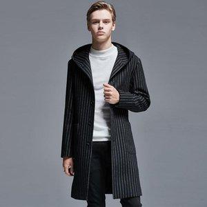 Hombres minimalistas Otoño Invierno con capucha Slim Woolen Coat Mens Moda Ciudad Black Stripe Single Breasted Abrigos largos y chaquetas