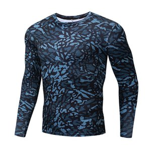 Compression Men's and Women's Sports T-shirt Long Sleeve Running Fitness Elastic Quick Drying Camouflage Tight Suit