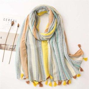 Yitao lenço scarf primavera e outono novo lenço coreano algodão cânhamo literatura e arte pequena frescas múltiplas funcionales xaile Sun Protection Toalha de praia