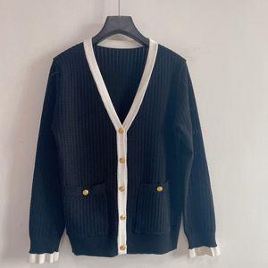 2021 Milan Runway Sweater V Neck Long Sleeve Women's Sweater High End Jacquard Cardigan Women Designer Sweater 0306-20