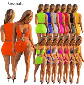 Donne da donna 2 pezzi Dress Set Primavera Estate Sexy Beach Abbigliamento Nuova Gonna senza maniche Sexy Sexy Night Club Indossare Crop Top Mini Gonna Suit 835