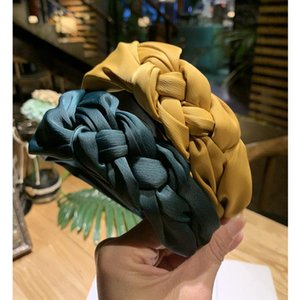 Tocado de tela de borde ancho de Corea del Sur Nueva trenza de giro simple con nudo lateral para diadema de cabello femenino corbatas para el cabello