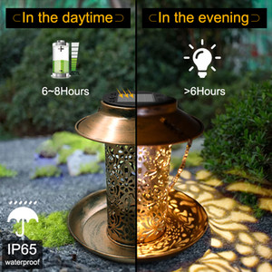 NEW Solar Energy Bird Feeder Waterproof Solar Light Wild Hanging Bronze Metal Tray Solar Lantern for Outdoors Garden Tree Decoration Light