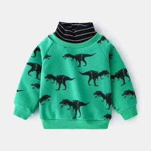 Winter New Kids Clothes Boys Baby Sweatshirt Cartoon Dinasour Casual Long Sleeve Pullover Tops Velvet For Children 2-6Y G0917