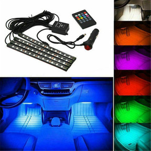 LED Car Foot Light Ambient Lamp Interior Atmosphere Dynamic RGB Strip Lights With USB Wireless Remote Music Sound Control Decorative Lights