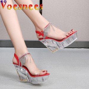 Voesnees mode zeigen frauen club party schuhe hochhackige sandalen transparente kristallschuhe wasserdichte plattform 10cm keil