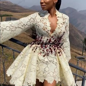 Arabic Aso Ebi Lace Wedding Dress A Line V-neck Long Sleeves Short Bridal Gowns Custom Size Wedding Gown for Women
