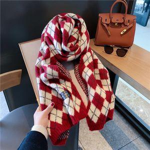 Scarf Women's Winter Korean Shawl Neckline Diamond Plaid Knitting Wool Decorative Warmth