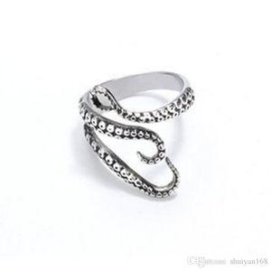 Men Finger Rings Punk Style Squid Octopus Ring Mens Jewelry Animal Open Adjustable Finger Ring For Man Women Christmas Halloween Gift