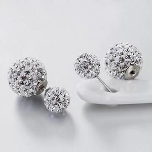 Doppelseitig perle stempel s925 sterling kristall ball himmel stern voll diamant vorne und hintere ohrringe weibliche siger schmuck