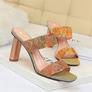 Sandalias para mujer coreanas Tacón alto Tacón alto Shiny Rhinestone Word con zapatillas Zapatos de altas zapatos Mocasines para mujeres Zuecos para mujeres Fro E00C #