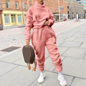 2021 Autumn Fleece High Collar 2 Piece Sets Womens Tracksuits Jogger Pants Warm Clothes Womans Solid Color Casual Suit Homesuit