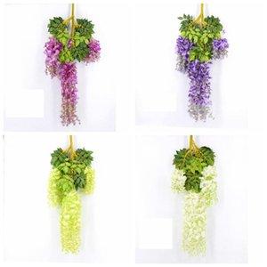 Zarif Yapay İpek Çiçek Wisteria Çiçek Asma Rattan Ev Bahçe Parti Düğün Dekorasyon Için Yüksek Kaliteli Çiçekler LLS543