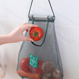 1pcs 재사용 가능한 코튼 메쉬 생산 야채 과일 주방 재사용 가능한 빨 수있는 격자 저장 가방 주방 주최자 코카 나
