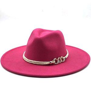 كبير واسعة بريم فيدوراس مع فرقة الكنيسة ديربي أعلى قبعة بنما الصلبة قبعة للرجال النساء الصوف الاصطناعي شعرت مزيج جاز قبعة