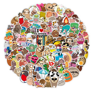 100PCS Lot Cartoon Animals Stickers Sloth Stickers Decals For Car Luggage Skateboard Laptop Guitar Helmet Motorcycle Kids Gifts