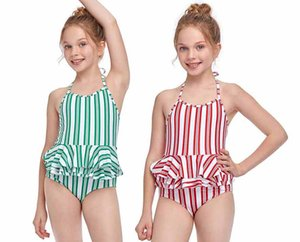Hot Sale Girl One-Piece Suspender Swimsuit 2-12T Girls Flounce Designer Striped Bikini 2 Style 4 Color Kids Comfortable Sling Swimwear