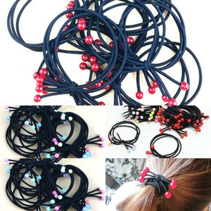 c2021one elastic in Korean knot circle high version three small red color bead head rope band hair accsori