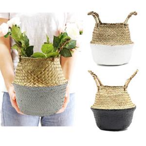 Storage Handmade Basket Foldable Planter Multifunctional Laundry Straw Patchwork Wicker Rattan Seagrass Garden Flowerpot Planter GWD5030