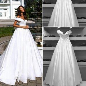 Elegant Plus Size A line Wedding Dresses Sexy Off Shoulder White Satin Saudi Arabian Bridal Gown