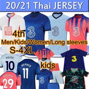 Chelsea 2020 2021 CFC Futebol Polo Treinamento Havertz Kante Werner Pulisic Ziyech Abraham Monte Football Shorts Homens Kit Kit Pólos Baby Calças camisetas