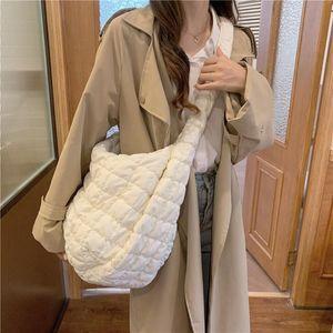 Сумки на плечо зима большие женские мешок космические хлопчатобумажные сумки женщина повседневная сумка по диагональному перо мягкие дамы покупки