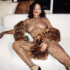 Perspectiva Skinny Sumpsuits Celebrito Mismo Estilo Mamemos para mujer Sexy Women Designer Rampers de moda Leopardo