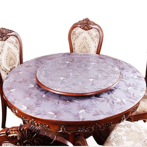 Table Cloth Round PVC Tablecloth Waterproof Oilproof Able Cover Glass Soft Home Kitchen Dining Room Placemat 1mm