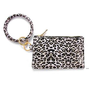 PU Keychain Bangle Wallet Woman Leather Handbag Wristlet Keychain Rainbow Leopard Sunflower Print Bracelet Bag Mobile Phone Bag Gift HWF5379