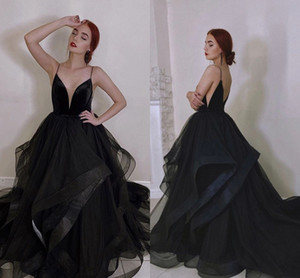 Sexy Spaghetti Straps Black Wedding Dresses 2021 Vestidos de novia A Line Tulle Bridal Gowns Plus Size Backless Marriage Gothic Dress AL8792