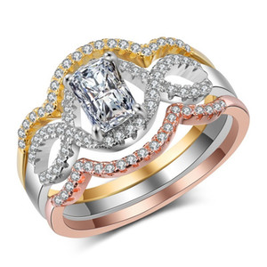 Новый знаменитый роскошный стерлинг 925 серебро 3 раундов кольцо набор 3A CZ Женщины хрустальные обручальные кольца классические обручальные кольца ювелирные изделия Wholsale подарки