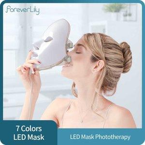7 Colors Light LED Facial Mask Skin Rejuvenation Face Care Treatment Beauty Anti Acne Therapy Whitening LED Photon Face Mask Q0604