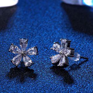 HBP Fashion Five Korea Inlaid Micro Zircon Crystal 925 Ear Temperament Luxury Color Stud Anti Needle Silver Flower Earrings Allergy Vngku