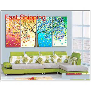 4 Piece set 100%hand Painted Oil Painting Colorful Wall Art Canvas Picture Modern Abstract Home Decor Livi qylsFh hotclipper