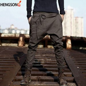 Autumn Spring Loose Casual Pants Trousers Cotton Blend Long Pants Drawstring Sashes Male Pant New Casual Men Harem