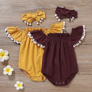 kids designer clothes girls boys Flying sleeve romper infant toddler off shoulder Jumpsuits Summer Tassel ball baby Climbing Clothing C6625