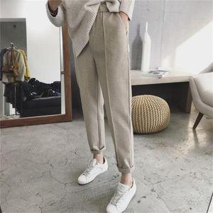 Women's Pants & Capris Mazefeng 2021 Autumn Winter Women Pant High Waist Pocket Korean Minimalist Style Fashion Ankle-Length Casual XS-4XL