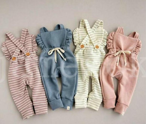New Born Baby Clothes Backless Striped Ruffle Romper Overalls Jumpsuit Clothes Baby Girl Girl Romper kids suspender jumpsuit DA254