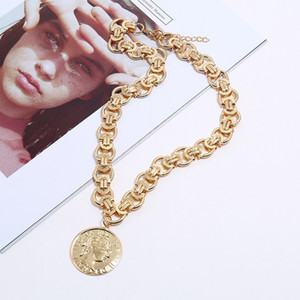 Exaggerated Retro Necklace Head Coin Charm Pendant Fashion Necklaces for Women Men Hip Hop Big Chain Statement Necklace Vintage Jewelry