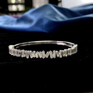 HBP Moda Luxo Novo S925 Sterling Silver Pulseira Completa Pequenas Frescas Frescas Coreanas Platinum Alto Carbono Diamante Handpiece Geométrico