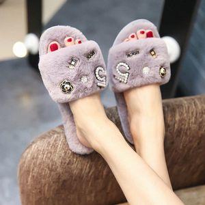 perfume decoration fur slippers women winter flip flops camellia pearl beading fur sandals women pantufas c85 t0A9#