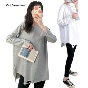 Maternity Tops & Tees Irregular Bottom Plus Size Full Sleeve Pregnancy Clothes T Shirt Solid Color Gray Wear Blouse 9076