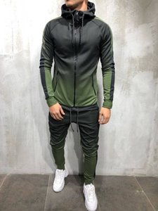 Zogaa Sportswear Two Piece Set Mens Casual Hooded Sports Wear Men's Tracksuit Training Sweat Men Track Suit M-3xl Sh190909