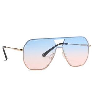 2021 Fashion Oversized One Piece Square Sunglasses Retro Ocean Color Gradient Rimless Sun Glasses for Women Shade Lens Uv400