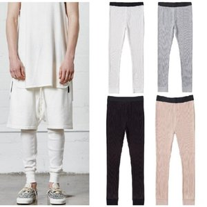 New Leggings for Men Waffle Knit Essentials Cpmpression Pants 4 Colors Fog Skinny Joggers Free Shipping