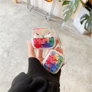 Building Blocks 3D Earphone Case For AirPods 1 2 Pro Box Popular Colorful Soft Silicone TPU Wireless Bluetooth Protective Cover